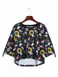 T-shirt Imprimé Floral Animal Épaule Tombante - Noir