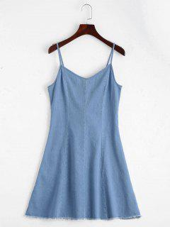 Back Lace Up Cami Denim Dress - Light Blue M