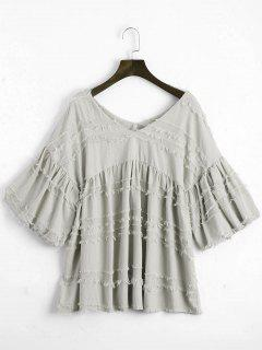 V Neck Lantern Sleeve Plain Blouse - Gray Xl