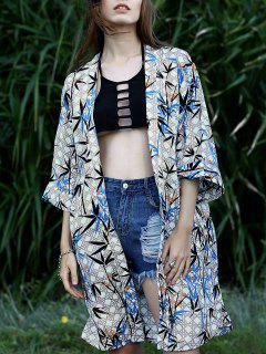 Bamboo Print Batwing Sleeve Long Blouse - M