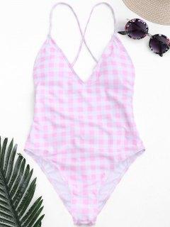 Maillot De Bain Haute Couture à Une Pièce - Rose Et Blanc S