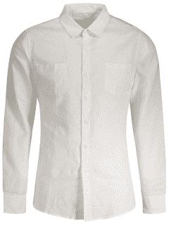 Chemise En Lin Slim Fit Poches - Blanc L