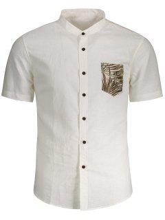 Linen Pocket Leaf Print Shirt - White M
