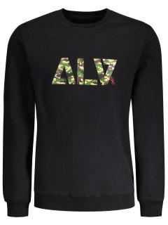 Graphic Basic Slim Fit Flocking Sweatshirt - Black Xl