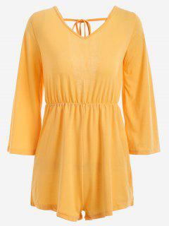 V Shaped Back Tassels Romper - Yellow M