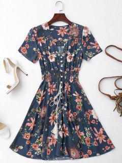 Vestido En A Línea De Flores Con Botones De Bata - Azul Purpúreo M
