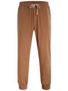 Men Drawstring Jogger Pants - Light Brown L