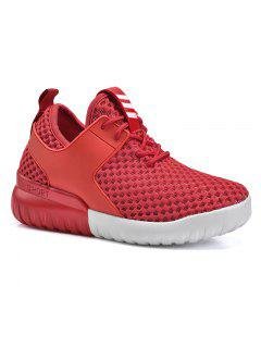 Faux Leather Insert Mesh Breathable Athletic Shoes - Red 40