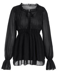 Ruffled Neck Flare Sleeve Tiered Blouse - Black Xl