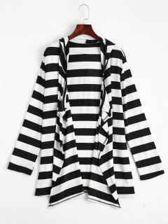 Open Front Striped Hooded Cardigan - Black Stripe Xl
