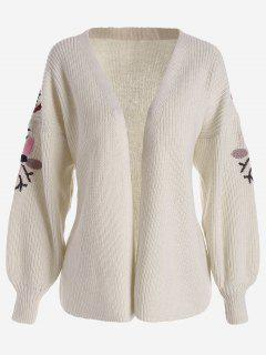 Floral Embroidered Lantern Sleeve Cardigan - Off-white