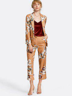 Belted Floral Blazer With Pockets - Floral M