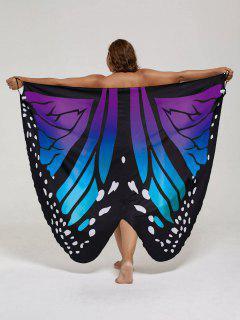 Plus Size Butterfly Wrap Cover Up Dress - Blue + Purple Xl