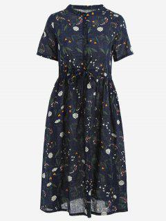 Floral Print Drawstring Dress - Purplish Blue 2xl