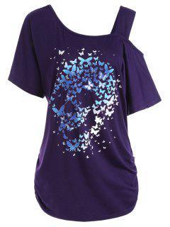 Skull Butterfly Print Skew Neck Plus Size Top - Purple 4xl