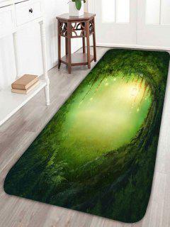 Alfombra Para Baño De Iluminación Tree Hole Print Skidproof - Verde Ancho 24 Pulgadas * Longitud 71 Pulgadas