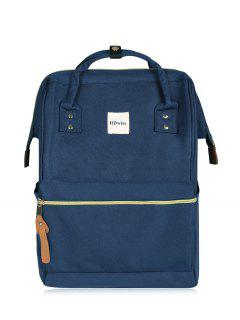 Casual Canvas Top Handle Backpack - Deep Blue