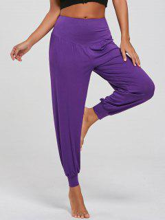 Hohe Taille Entspannte Fit Yoga Hose - Lila M