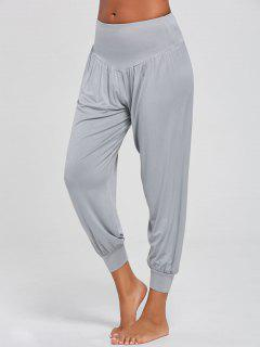 High Waist Relaxed Fit Yoga Pants - Gray L