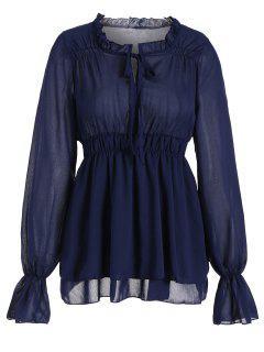 Blusa Con Cuello Volante Con Cuello - Azul Purpúreo M