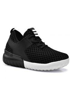 Faux Leather Insert Mesh Breathable Athletic Shoes - Black 39