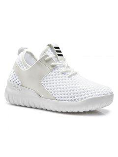 Faux Leather Insert Mesh Breathable Athletic Shoes - White 40