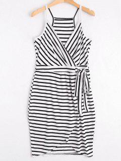 Self Tie Striped Cami Dress - Stripe L