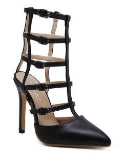 Pointed Toe Faux Leather Buckle Straps Pumps - Black 38