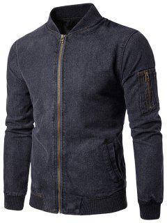 Stand Collar Zip Up Denim Jacket - Gray L