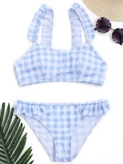 Checked Ruffled Bathing Suit - Blue And White M
