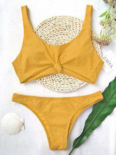 Knoten Scoop Hohe Schlitz Badeanzug - Ingwer-gelb M