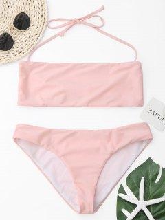 Halter Bandeau Bikini Set - Pink M