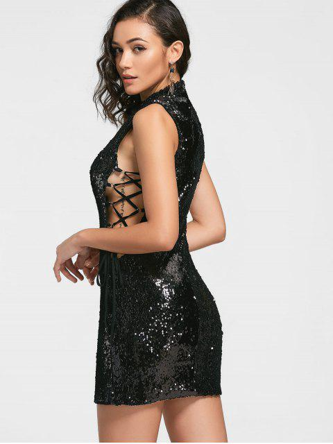 Sequined Lace-up Prom Dress - Noir XL Mobile