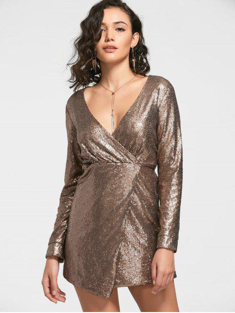 lady Sequined Prom Dress - GOLDEN XL Mobile