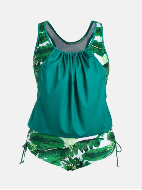 online Plus Size Faux Twinset Palm Leaf Swimwear - LAKE GREEN 2XL Mobile