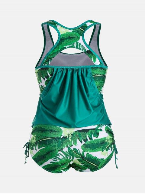 new Plus Size Faux Twinset Palm Leaf Swimwear - LAKE GREEN 3XL Mobile