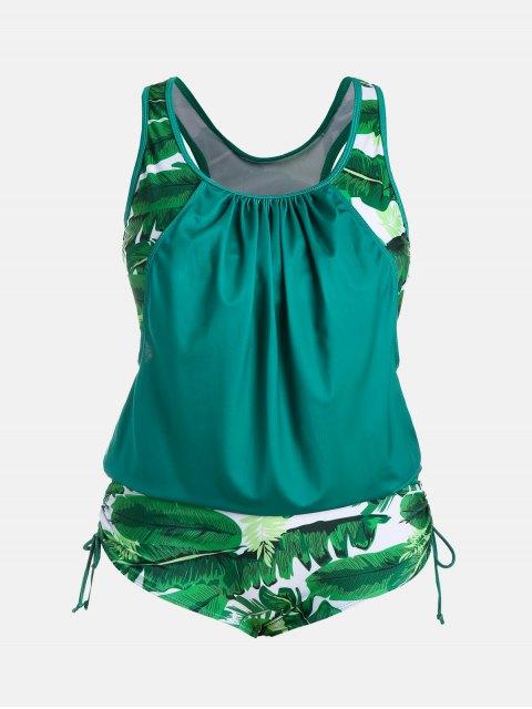 outfit Plus Size Faux Twinset Palm Leaf Swimwear - LAKE GREEN 5XL Mobile