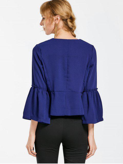 best Flare Sleeve Open Front Jacket - CERULEAN L Mobile