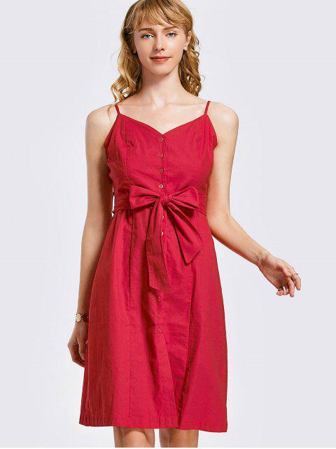 Botón de mini vestido con cinturón - Rojo S Mobile