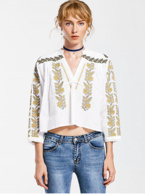 Blusa de túnica bordada en cuello en V - Blanco L Mobile