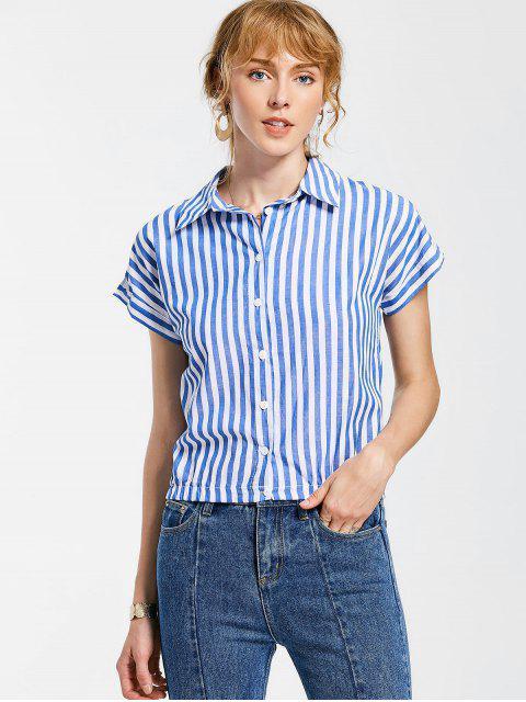 Botón encima de la camisa rayada - Azul XL Mobile