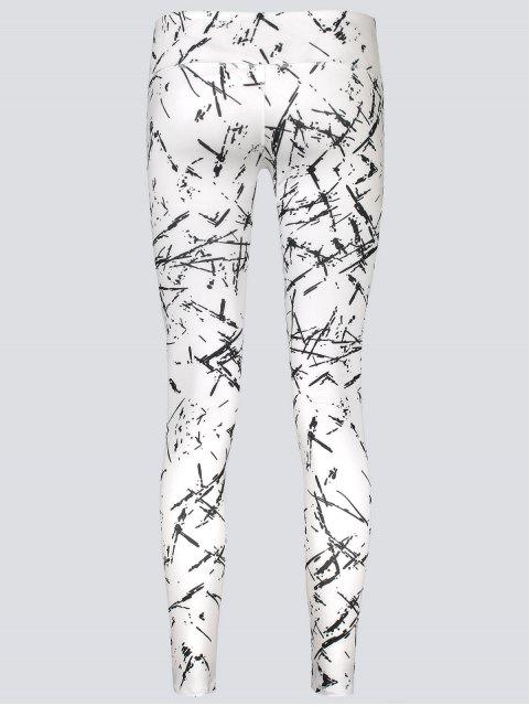 affordable Active Abstract Fit Leggings - WHITE M Mobile