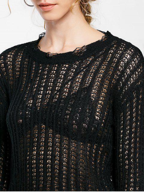 Top en tricot brodé - Noir TAILLE MOYENNE Mobile