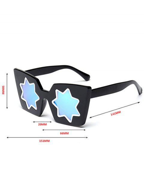 ladies Star Geometric Frame Mirror Reflective Sunglasses - PINK  Mobile