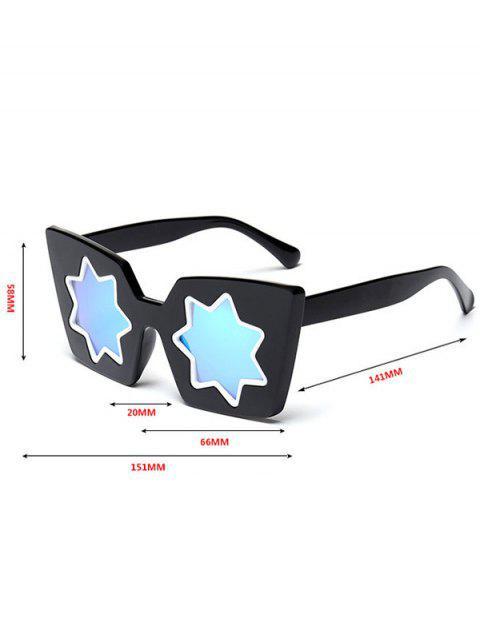 lady Star Geometric Frame Mirror Reflective Sunglasses - BLUE  Mobile