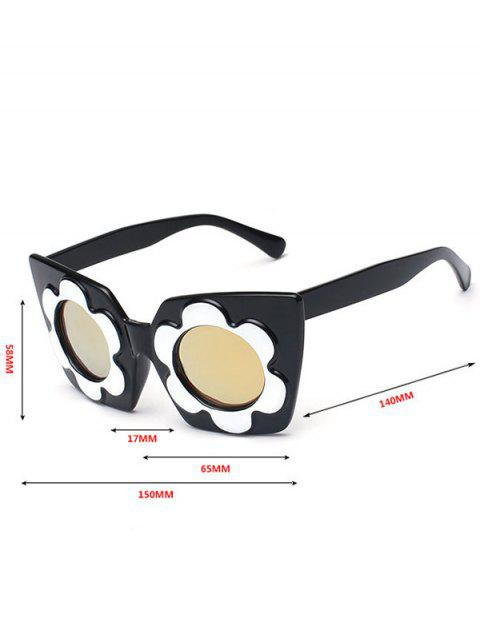best Reflective Mirrored Floral Frame Sunglasses - GOLDEN  Mobile