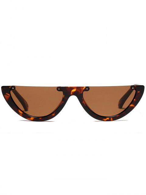 womens Semilunar Semi-Rimless Sunglasses - BLACK LEOPARD PRINT  Mobile