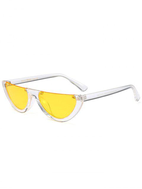 buy Semilunar Semi-Rimless Sunglasses - YELLOW  Mobile