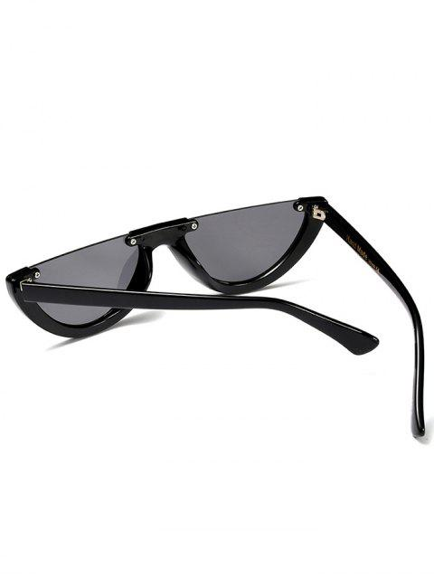 affordable Semilunar Semi-Rimless Sunglasses - BLACK  Mobile