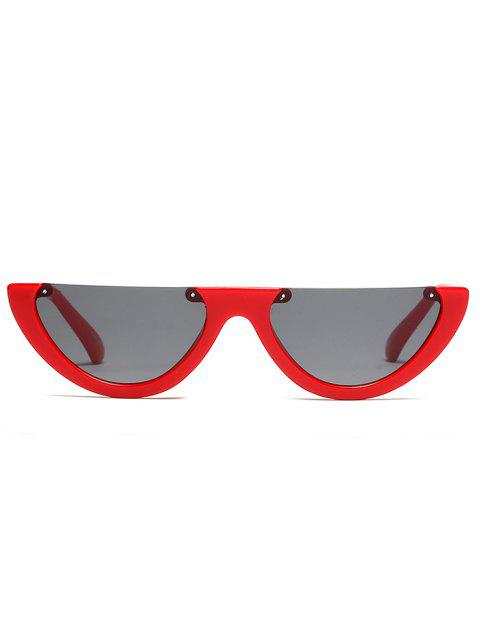 unique Semilunar Semi-Rimless Sunglasses - RED  Mobile